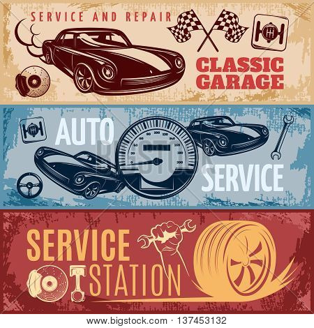 Three horizontal retro car repair banner set with descriptions of classic garage auto service and service station vector illustration