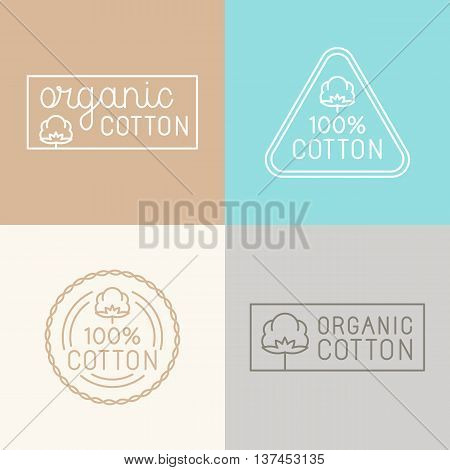 Vector Set Of Labels, Badges And Design Elements For Organic Cotton