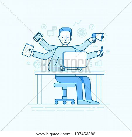Vector Self Employment Concept In Trendy Flat Linear Style