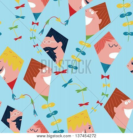 Cute kites painted like dudes seamless pattern