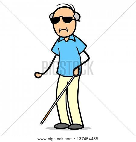 Sad blind cartoon senior man with cane and sunglasses