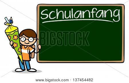Cartoon boy and blackboard saying in German