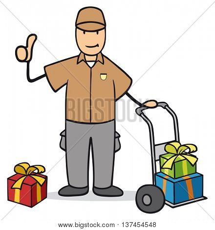 Cartoon delivery guy with christmas gifts holding his thumbs up