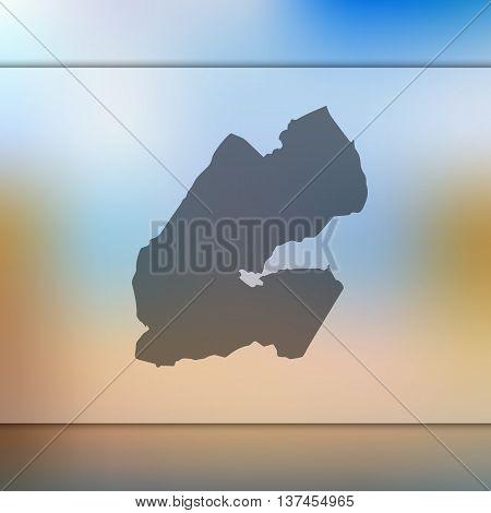 Djibouti map on blurred background. Blurred background with silhouette of Djibouti. Djibouti.