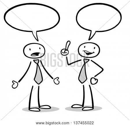 Two cartoon business people talking with empty speech bubbles
