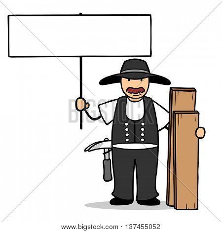 Cartoon carpenter holding up a blank sign