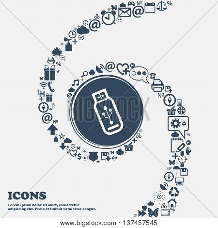 Usb Flash Drive Icon Sign In The Center. Around The Many Beautiful Symbols Twisted In A Spiral. You
