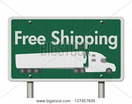 Free Shipping Road Sign A green Road Sign with text Free Shipping and a truck isolated over white, 3D Illustration