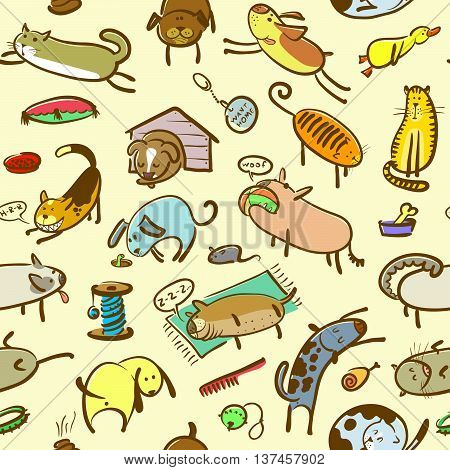 Cute doodle seamless pattern with cats and dogs