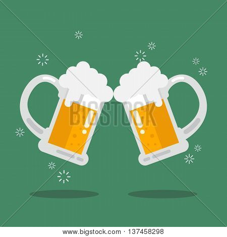 Toasting glasses of beer. Vector Illustration in flat style