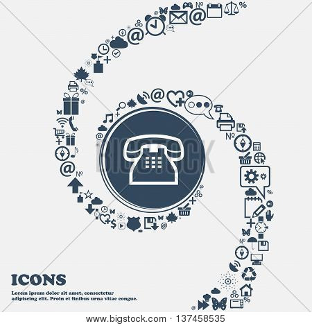 Retro Telephone Handset Icon Sign In The Center. Around The Many Beautiful Symbols Twisted In A Spir