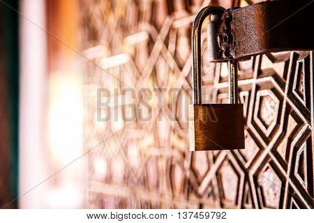 the padlock old retro antique closed door