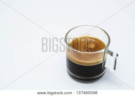 Cup of espresso coffee.Coffee espresso white background