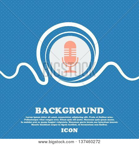 Microphone Icon Sign. Blue And White Abstract Background Flecked With Space For Text And Your Design