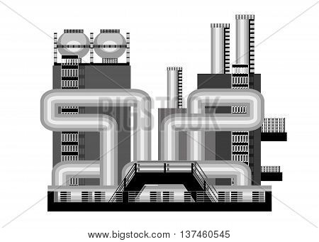 icon industry. Industrial construction pipeline, stairs and containers