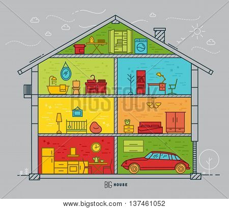 Big house silhouette with rooms furnishings in flat style drawing with color lines on grey background
