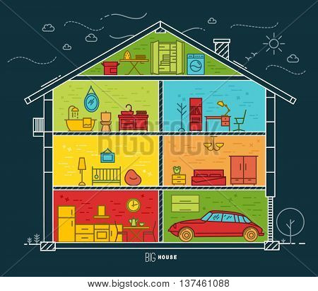 Big house silhouette with rooms furnishings in flat style drawing with color lines on dark blue background