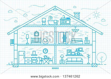 House silhouette with rooms furnishings in flat style drawing with light blue lines on squared paper sheet background