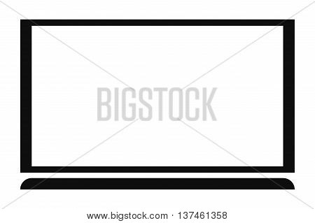 simple flat design flat screen tv monitor icon vector illustration