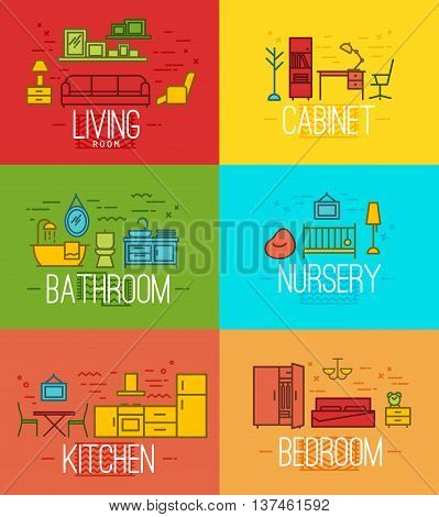 Flat rooms furnishings living room cabinet bathroom nursery kitchen bedroom in flat style drawing with color