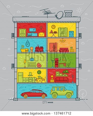 City house silhouette with rooms furnishings in flat style drawing with color lines on grey background