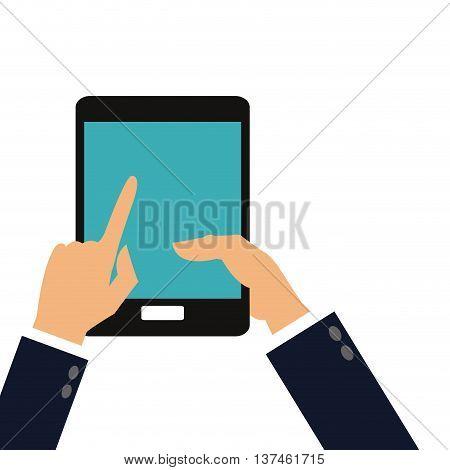 flat design hand holding cellphone icon vector illustration
