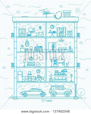 City house silhouette with rooms furnishings in flat style drawing with light blue lines on squared paper sheet background