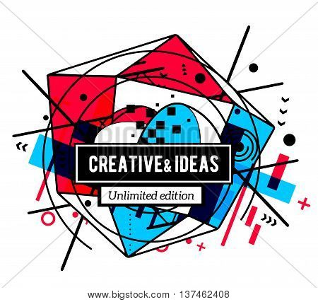 Vector illustration of colorful red and blue abstract composition with black frame and text isolated on white background. Line art design for web site banner poster board card paper print t-shirt.