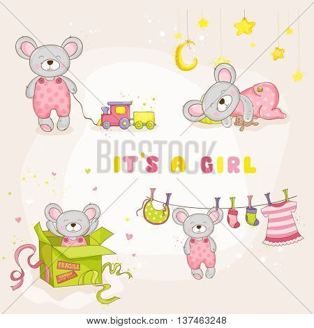 Set of Baby Mouse - for Baby Shower or Arrival Card - in vector
