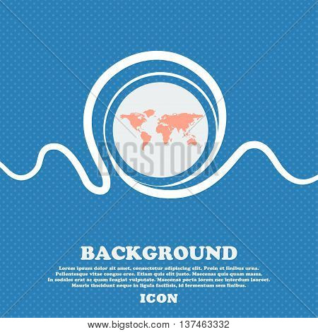 Globe Sign Icon. World Map Geography Symbol. Blue And White Abstract Background Flecked With Space F