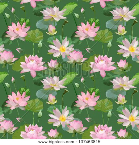Vintage Waterlily Flowers in Watercolor Style. Seamless Background Pattern in Vector