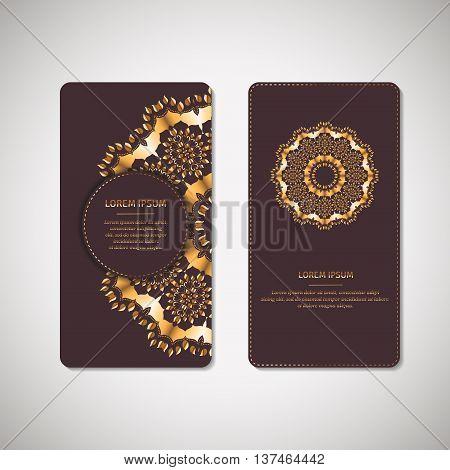 Set of two ornamental gold cards, flyers with flower oriental mandala on dark vinous background. Ethnic vintage pattern. Indian, asian, arabic, islamic, ottoman motif. Vector illustration.