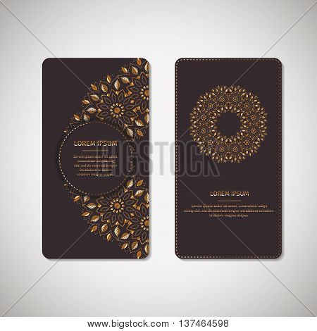 Set of two ornamental gold cards, flyers with flower oriental mandala on dark plum background. Ethnic vintage pattern. Indian, asian, arabic, islamic, ottoman motif. Vector illustration.