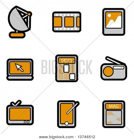 electronic object icon set