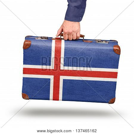 Vintage Icelandic flag suitcase isolated on white travel to Iceland concept