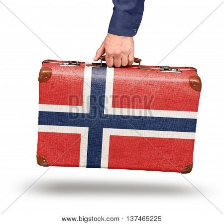 Vintage Norwegian flag suitcase isolated on white travel to Norway concept