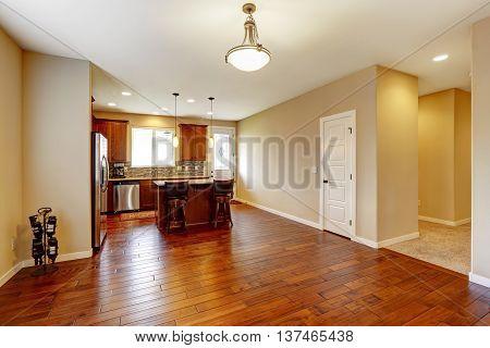 Kitchen Interior With Hardwood Floor And Beige Walls.