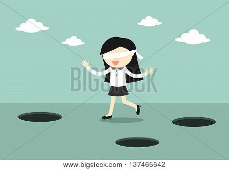 Business concept, Blindfolded business woman is walking. Vector illustration.