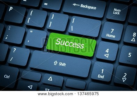 Laptop Keyboard. The Focus On The Success Key.