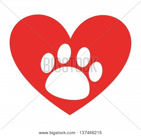 animal footprint in heart isolated icon design, vector illustration  graphic