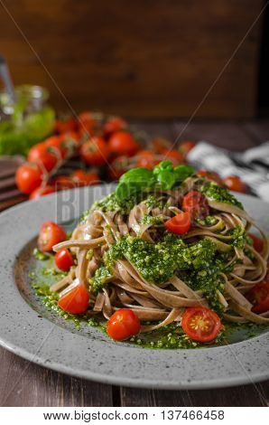 Pasta With Basil Pesto And Parmesan