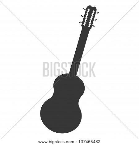 flat design acoustic guitar icon vector illustration