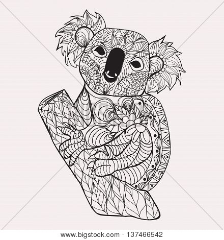 Zentangle style koala. Black white hand drawn doodle animal for coloring page shirt design effect logo tattoo and decoration.
