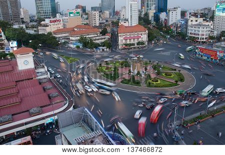 SAI GON, VIET NAM, April 28, 2016 urban traffic, downtown Sai Gon, Vietnam, in the evening