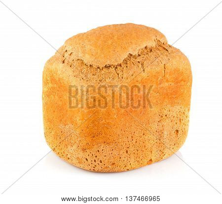 Organic bread of bran malt and rye flour isolated on white background