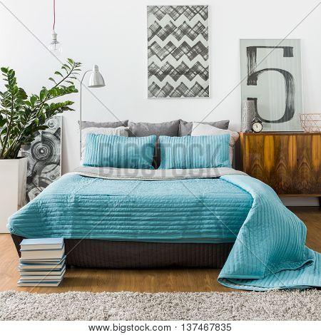 Marital Bed In Cozy Bedroom