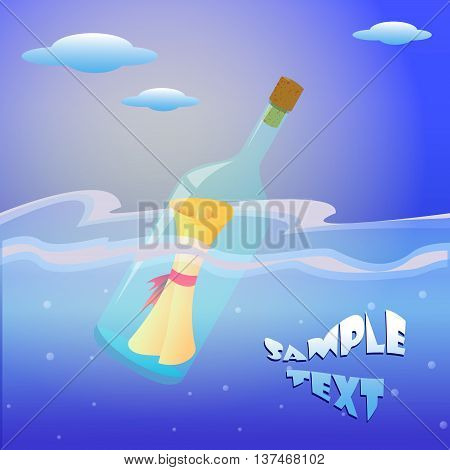 Illustration of message in the bottle on sea card sample text wishes sent wishes send