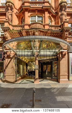 GLASGOW SCOTLAND - JULY 05 2016: Buchanan Street entrance to the Argyle Arcade shopping mall in Glasgow Scotland.