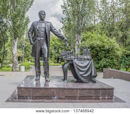 Rostov-on-Don Russia- June 12 2016: Memorial the mayor of Rostov-on-Don Andrey Baikov sculptor A. Sknarin