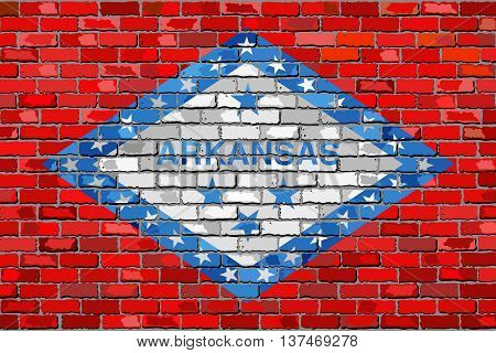 Flag of Arkansas on a brick wall - Illustration,  The flag of the state of Arkansas on brick textured background,  Arkansas flag painted on brick wall, Abstract grunge Arkansas flag in brick style